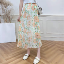skirt Summer 2020 L Orange flowers with green leaves on a white background Mid length dress 51% (inclusive) - 70% (inclusive) other