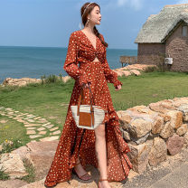 Dress Spring 2021 Decor S,M,L,XL longuette singleton  Long sleeves commute V-neck High waist Broken flowers other Irregular skirt routine Others 25-29 years old Type A Other / other Retro printing BH75MPOPM 31% (inclusive) - 50% (inclusive) Chiffon polyester fiber