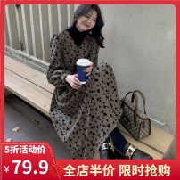 Women's large Spring 2021 Picture color S M L XL 2XL 3XL 4XL Dress singleton  commute easy moderate Socket Long sleeves Broken flowers Korean version V-neck routine 1-9CS0129 Yifengweier 18-24 years old Medium length Polyester 100% Pure e-commerce (online only) other