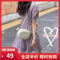 Dress Summer 2020 [taro purple] net red can be sweet and salty dress [black] small man shows high foreign style to wear S M L XL 2XL 3XL 4XL Mid length dress singleton  Short sleeve Sweet V-neck Loose waist Broken flowers Socket other Flying sleeve Others 18-24 years old Yifengweier J4-03ML2503-A