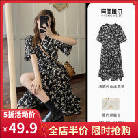 Women's large Summer 2021 Picture color S M L XL 2XL 3XL 4XL Dress singleton  commute easy moderate Socket Short sleeve Broken flowers Korean version V-neck routine Yifengweier 18-24 years old Medium length Polyester 100% Pure e-commerce (online only) other