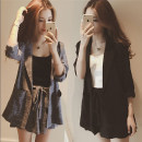 Women's large Summer 2020 Grey black Dress Two piece set Sweet easy moderate Cardigan Long sleeves lattice Polo collar routine Three dimensional cutting routine C8019 Yifengweier 18-24 years old Bandage Short skirt Other polyester 95% 5% Pure e-commerce (online only) shorts Lotus leaf edge