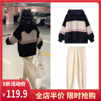 Women's large Autumn 2020 Picture color suit S M L XL 2XL 3XL 4XL trousers Two piece set Sweet easy moderate Socket Long sleeves stripe routine routine A9-24ZYF802-B Yifengweier 18-24 years old Polyester 42% viscose 40% polyamide 18% Pure e-commerce (online only) Ninth pants solar system