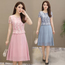 Dress Summer of 2019 Grey, pink L,XL,2XL,3XL,4XL Miniskirt Short sleeve commute Crew neck middle-waisted A-line skirt Other / other Ol style 6332# Lace