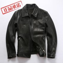 leather clothing AVFLY Fashion City black M,L,XL,2XL have cash less than that is registered in the accounts Leather clothes Lapel Slim fit zipper autumn leisure time youth Goat skin tide ZG-AF-1991 Cloth hem Side seam pocket Zipper decoration No iron treatment Animal pattern
