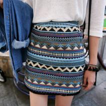 skirt Fall 2017 XS,S,M,L,XL,2XL Sea blue, light red Short skirt commute Natural waist skirt stripe Type A 71% (inclusive) - 80% (inclusive) brocade cotton Tassels, ruffles, embroidery, three-dimensional decoration, zipper, thread decoration, stitching ethnic style