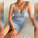 Dress Summer 2021 blue S,M,L Short skirt singleton  Sleeveless V-neck Loose waist Solid color other One pace skirt camisole 18-24 years old Type H NIBBER K21D00568 More than 95% other polyester fiber
