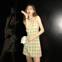 Dress Spring 2021 Picture color, white sling S,M,L,XL,2XL Short skirt singleton  Sleeveless High waist A-line skirt camisole 18-24 years old More than 95%