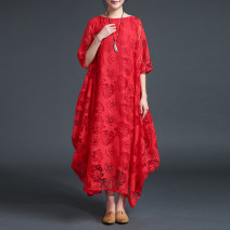 Dress Summer 2021 Red, white, black S,M,L,XL longuette singleton  elbow sleeve commute Crew neck Loose waist Solid color Socket Big swing routine Type A CHSSNIKE ethnic style Pocket, stitching, asymmetry Lace cotton