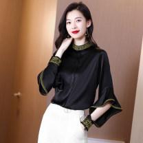 shirt black S (90-100kg), m (100-110kg), l (110-120kg), XL (120-130kg), 2XL (130-140kg), 3XL (140-150kg) Spring 2020 silk 91% (inclusive) - 95% (inclusive) Long sleeves commute Regular stand collar Socket Lotus leaf sleeve Solid color Straight cylinder Korean version silk