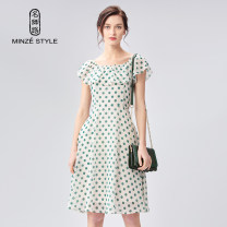 Dress Summer of 2019 Green Polka Dot Dress M,L,XL Mid length dress singleton  Sleeveless commute One word collar middle-waisted Dot Socket A-line skirt routine Others 35-39 years old Type X Minze style / Mingshi Road lady Lotus leaf edge TS929047 More than 95% Chiffon polyester fiber