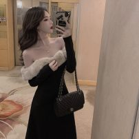 Dress Winter 2021 black S, M Mid length dress singleton  Long sleeves commute One word collar High waist Solid color Socket other routine 18-24 years old Type A Korean version More than 95%
