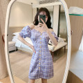 Dress Summer 2021 violet S,M,L Middle-skirt singleton  Short sleeve commute square neck High waist Decor zipper Irregular skirt puff sleeve Others 18-24 years old Type A Other / other literature Button 83832# 71% (inclusive) - 80% (inclusive) Chiffon cotton