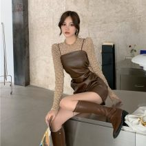 Dress Autumn 2020 Khaki t-blood, khaki suspender skirt S. M, average size Short skirt singleton  Sleeveless commute other High waist Solid color Socket A-line skirt camisole 18-24 years old Type A Korean version other other