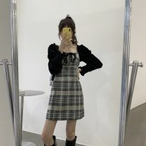 Dress Spring 2021 Black grid, gray grid Average size Short skirt singleton  Long sleeves commute square neck High waist lattice Socket other puff sleeve Others 18-24 years old Type A Korean version Tie, bow More than 95% other