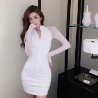 Dress Spring 2021 White, black S,M,L Short skirt singleton  Long sleeves commute stand collar High waist Solid color zipper One pace skirt routine Others 25-29 years old Type X Other / other Korean version zipper 51% (inclusive) - 70% (inclusive) brocade polyester fiber