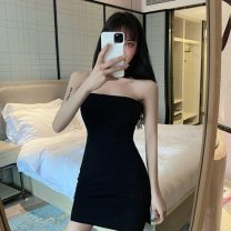 Dress Summer 2021 black S,M,L Short skirt singleton  Sleeveless commute One word collar middle-waisted Solid color zipper Pencil skirt routine Breast wrapping 18-24 years old Type H Other / other Korean version backless 83857# 91% (inclusive) - 95% (inclusive) knitting cotton