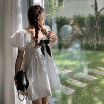 Dress Summer 2021 white Average size Short skirt singleton  Short sleeve commute square neck High waist Solid color Socket A-line skirt puff sleeve Others 18-24 years old Type A Korean version bow A3143 31% (inclusive) - 50% (inclusive) other other