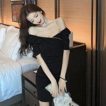 Dress Spring 2021 black S,M,L Short skirt singleton  Short sleeve commute V-neck High waist Solid color zipper One pace skirt routine Others 18-24 years old T-type Korean version