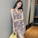 Dress Summer 2021 grey S,M,L Middle-skirt singleton  Sleeveless commute V-neck High waist Decor Socket Irregular skirt Hanging neck style 18-24 years old Type H Korean version printing 91% (inclusive) - 95% (inclusive) polyester fiber