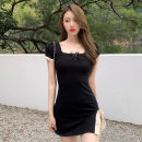 Dress Summer 2021 black Average size Short skirt singleton  Short sleeve commute square neck High waist Solid color Socket One pace skirt routine Others 18-24 years old T-type lady Splicing