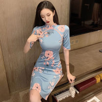 Dress Summer 2021 Picture color S,M,L Middle-skirt singleton  Short sleeve commute stand collar High waist Decor zipper other routine Others 18-24 years old T-type Retro printing