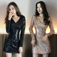 Dress Autumn of 2019 The night is black and the champagne is gold S,M,L Short skirt singleton  Long sleeves commute V-neck middle-waisted Solid color zipper One pace skirt routine Others 18-24 years old Type H Other / other Korean version Stitching, zipper, Sequin 81% (inclusive) - 90% (inclusive)