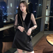 Dress Spring 2021 black S,M,L Mid length dress Fake two pieces Long sleeves commute High collar middle-waisted Solid color Socket A-line skirt puff sleeve Others 18-24 years old T-type Britain Splicing, mesh 31% (inclusive) - 50% (inclusive) other