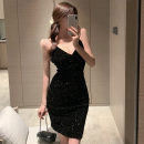 Dress Spring 2021 Silver, black S,M,L Short skirt singleton  Short sleeve commute Crew neck High waist Solid color Socket One pace skirt routine camisole 18-24 years old Type H Korean version Backless, stitching, sequins 31% (inclusive) - 50% (inclusive) other polyester fiber