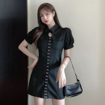 Dress Summer 2021 Gray, black S, M Middle-skirt singleton  Short sleeve commute Polo collar middle-waisted Solid color other A-line skirt puff sleeve Others 18-24 years old T-type Korean version Hollowing out 51% (inclusive) - 70% (inclusive) other cotton
