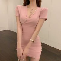 Dress Summer 2021 Black, pink Average size Short skirt singleton  Long sleeves commute V-neck High waist Solid color Socket One pace skirt routine Others 18-24 years old T-type Korean version Button, button 30% and below cotton