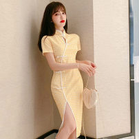 Dress Summer 2021 Bright yellow S,M,L Mid length dress singleton  Short sleeve commute stand collar middle-waisted lattice Socket other routine Others 18-24 years old T-type Retro 51% (inclusive) - 70% (inclusive) brocade polyester fiber