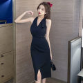 Dress Spring 2021 black S,M,L Middle-skirt singleton  Sleeveless commute V-neck High waist Solid color zipper other Hanging neck style 18-24 years old Type H Korean version Splicing