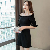 Dress Summer 2021 black S,M,L,XL Short skirt singleton  elbow sleeve commute One word collar High waist Solid color Socket One pace skirt other Others 18-24 years old T-type Other / other Korean version Zipper, stitching