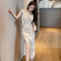 Dress Summer 2021 black S,M,L Mid length dress singleton  Sleeveless commute V-neck High waist Solid color zipper other camisole 18-24 years old Type H Korean version Open back, stitching 91% (inclusive) - 95% (inclusive) Silk and satin polyester fiber