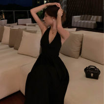 Dress Summer 2020 black S,M,L Mid length dress singleton  Sleeveless commute V-neck High waist Solid color Socket A-line skirt Hanging neck style 18-24 years old Type A Retro backless