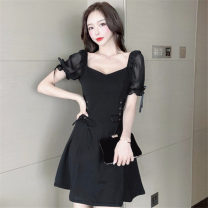 Dress Summer 2021 White, black S,M,L Short skirt singleton  Short sleeve commute V-neck High waist Solid color Socket Big swing puff sleeve Others 18-24 years old Type X Other / other Korean version Stitching, lacing nylon