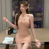 Dress Spring 2021 Black, pink S,M,L Short skirt singleton  Sleeveless commute V-neck High waist Solid color zipper One pace skirt Hanging neck style 18-24 years old Type H Korean version 91% (inclusive) - 95% (inclusive) other cotton