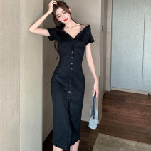 Dress Spring 2021 black S,M,L Mid length dress singleton  Short sleeve commute V-neck High waist Solid color Socket One pace skirt routine 18-24 years old Type H Button knitting polyester fiber