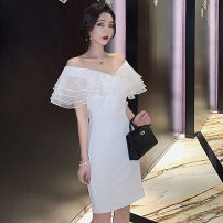 Dress Summer 2021 white S,M,L Short skirt singleton  Short sleeve commute V-neck High waist Solid color zipper One pace skirt other Others 18-24 years old Type H Korean version Splicing, mesh