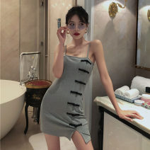 Dress Summer 2021 Peach powder, Republic of China grey Average size Short skirt singleton  Sleeveless street One word collar High waist Solid color Socket One pace skirt camisole 18-24 years old Type H Button Europe and America