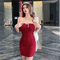 Dress Summer 2021 gules S,M,L Short skirt singleton  Sleeveless commute One word collar High waist Solid color Socket other other camisole 18-24 years old Type H Korean version Gauze 31% (inclusive) - 50% (inclusive) other other