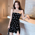 Dress Summer 2021 black S,M,L Short skirt singleton  Sleeveless commute One word collar High waist zipper One pace skirt camisole 18-24 years old Type H Korean version Backless, bandage, zipper, print 81% (inclusive) - 90% (inclusive) other nylon