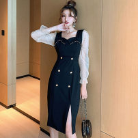 Dress Winter 2020 black S,M,L Mid length dress singleton  Nine point sleeve commute square neck middle-waisted Solid color zipper other Petal sleeve Others 18-24 years old Type H Other / other Korean version Stitching, mesh, buttons, beads brocade