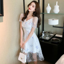 Dress Summer 2021 white S,M,L Middle-skirt singleton  Short sleeve commute V-neck High waist other zipper A-line skirt puff sleeve Others 18-24 years old Type A Korean version Stitching, sequins 91% (inclusive) - 95% (inclusive) other
