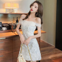 Dress Summer 2021 white S,M,L Short skirt singleton  Short sleeve commute One word collar High waist Solid color zipper A-line skirt other Others 18-24 years old T-type Korean version Splicing, mesh 91% (inclusive) - 95% (inclusive) other