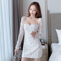 Dress Autumn 2020 white S,M,L Short skirt singleton  Long sleeves commute square neck High waist Solid color zipper One pace skirt pagoda sleeve Others 18-24 years old Type H Retro Backless, stitching, lace, zipper