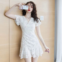 Dress Summer 2021 Apricot S,M,L,XL,2XL Short skirt singleton  Long sleeves commute V-neck High waist Solid color zipper A-line skirt routine Others 18-24 years old Type X Korean version Button, ruffle, lace