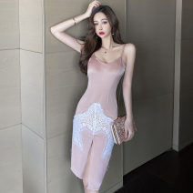 Dress Summer 2021 Lotus root Pink S,M,L Middle-skirt singleton  Sleeveless commute High waist Solid color Socket One pace skirt camisole 18-24 years old Type H Splicing