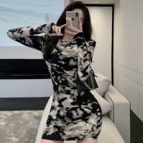 Dress Winter 2020 Tie dye black S, M Short skirt singleton  Long sleeves commute Crew neck High waist Socket One pace skirt routine Others 18-24 years old Type H Korean version 51% (inclusive) - 70% (inclusive) polyester fiber